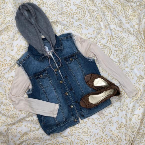 Volcom Jackets & Blazers - Denim Vest with detachable sweatshirt hood